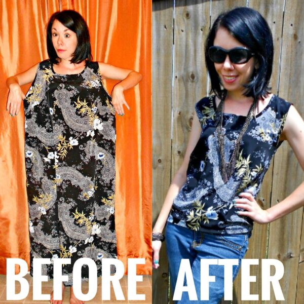 refashioner's block: dress to top refashion before and after