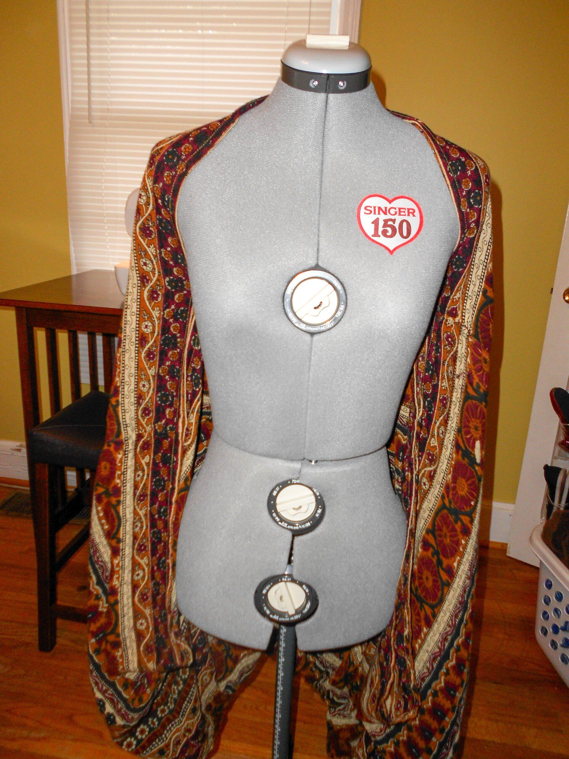 skirt draped on dress form