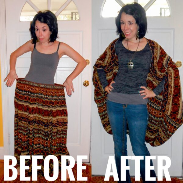 skirt to batwing coverup before and after