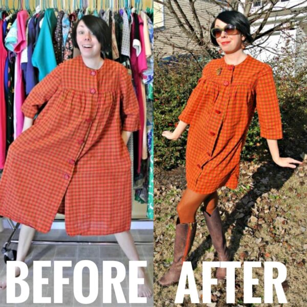 orange housedress refashion before and after