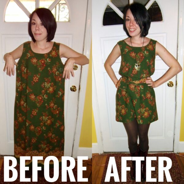 sleeveless dress before and after