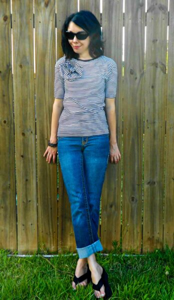 Carrie Bradshaw Striped Shirt Refashion after