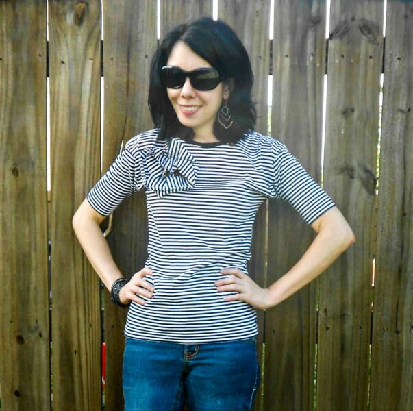 Carrie Bradshaw Striped Shirt Refashion after closeup