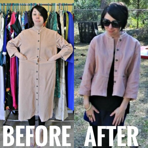 Refashionista corduroy dress to jacket refashion before and after