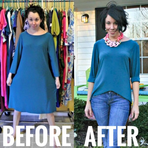 One Dress, Three Ways II: No-Sew Dress to High Low Top Refashion before and after