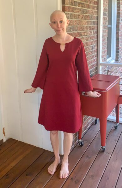 Easy Bell Sleeve to Puff Sleeve Dress Refashion before