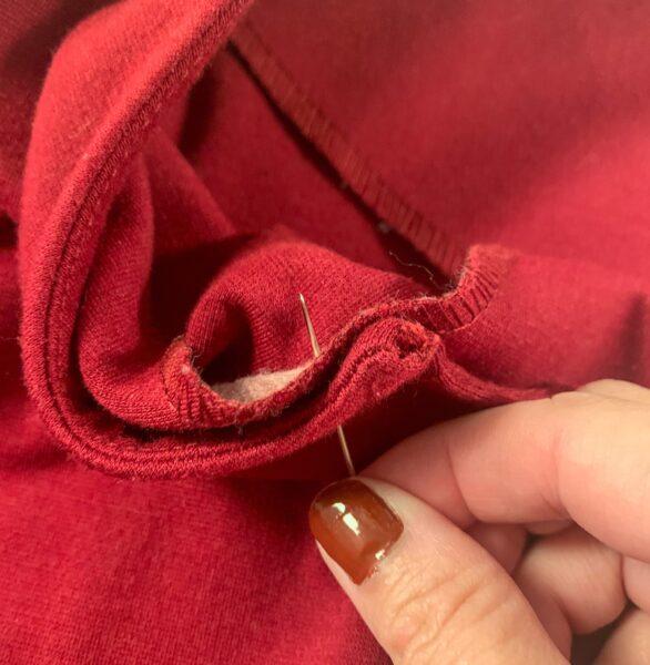 hand stitching v neck