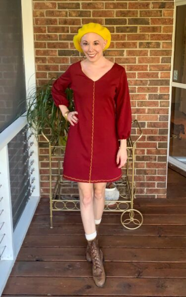Easy Bell Sleeve to Puff Sleeve Dress Refashion after