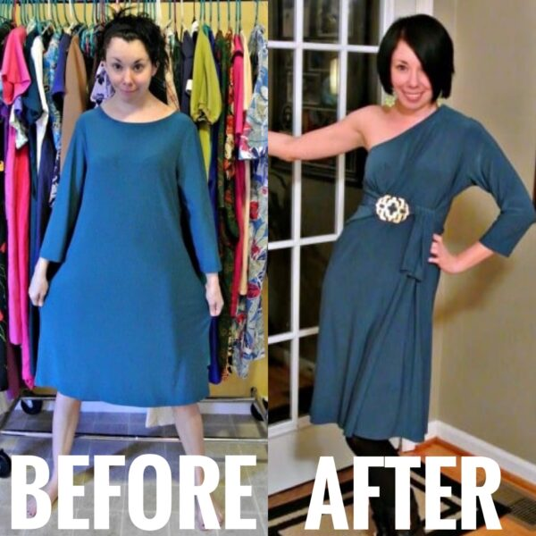 No-Sew One Sleeve Dress Refashion Before and After