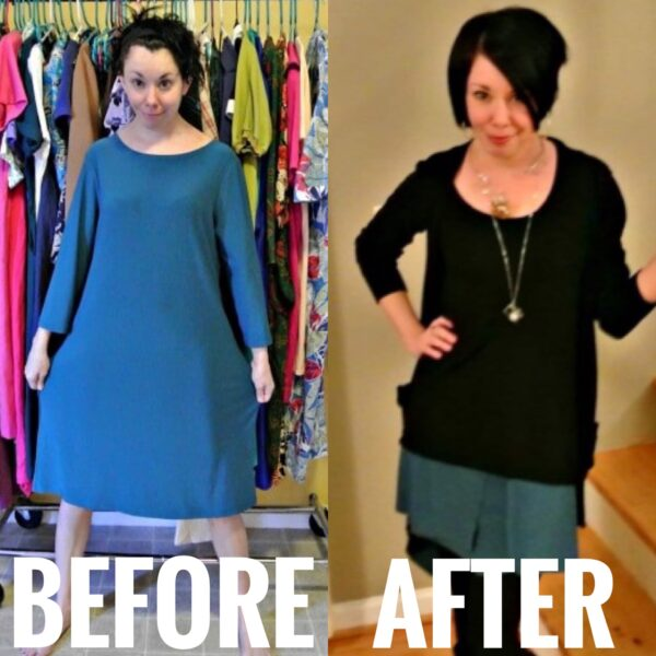 One Dress, Three Ways III: A Dress to Skirt Refashion before and after