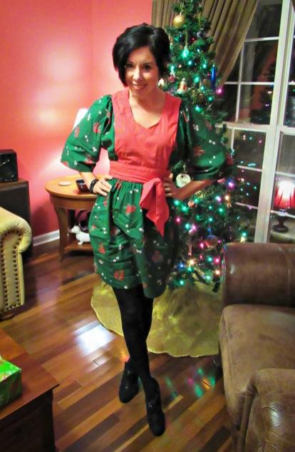Vintage Christmas Dress Refashion 6