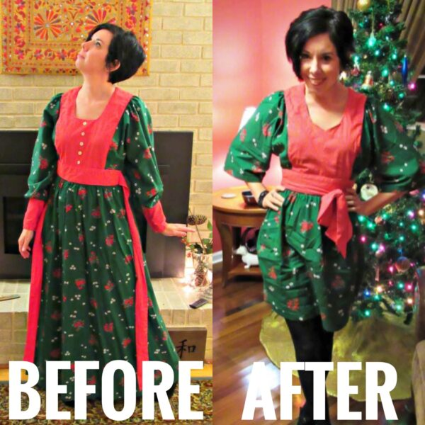 Vintage Christmas Dress Refashion before and after