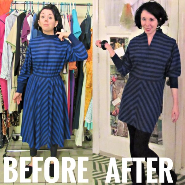'80s Striped Dress Refashion Before and after