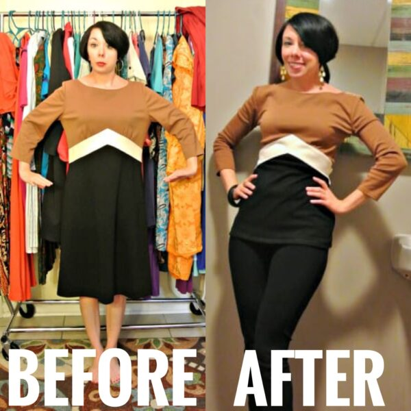 Allagash Dress to Top Refashion before and after