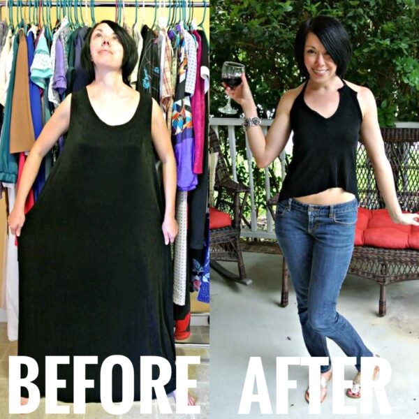 Sleeveless Dress to Keyhole Back Top Refashion  before and after