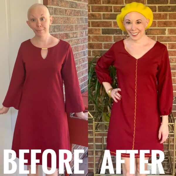 refashionista Easy Bell Sleeve to Puff Sleeve Dress Refashion before and after