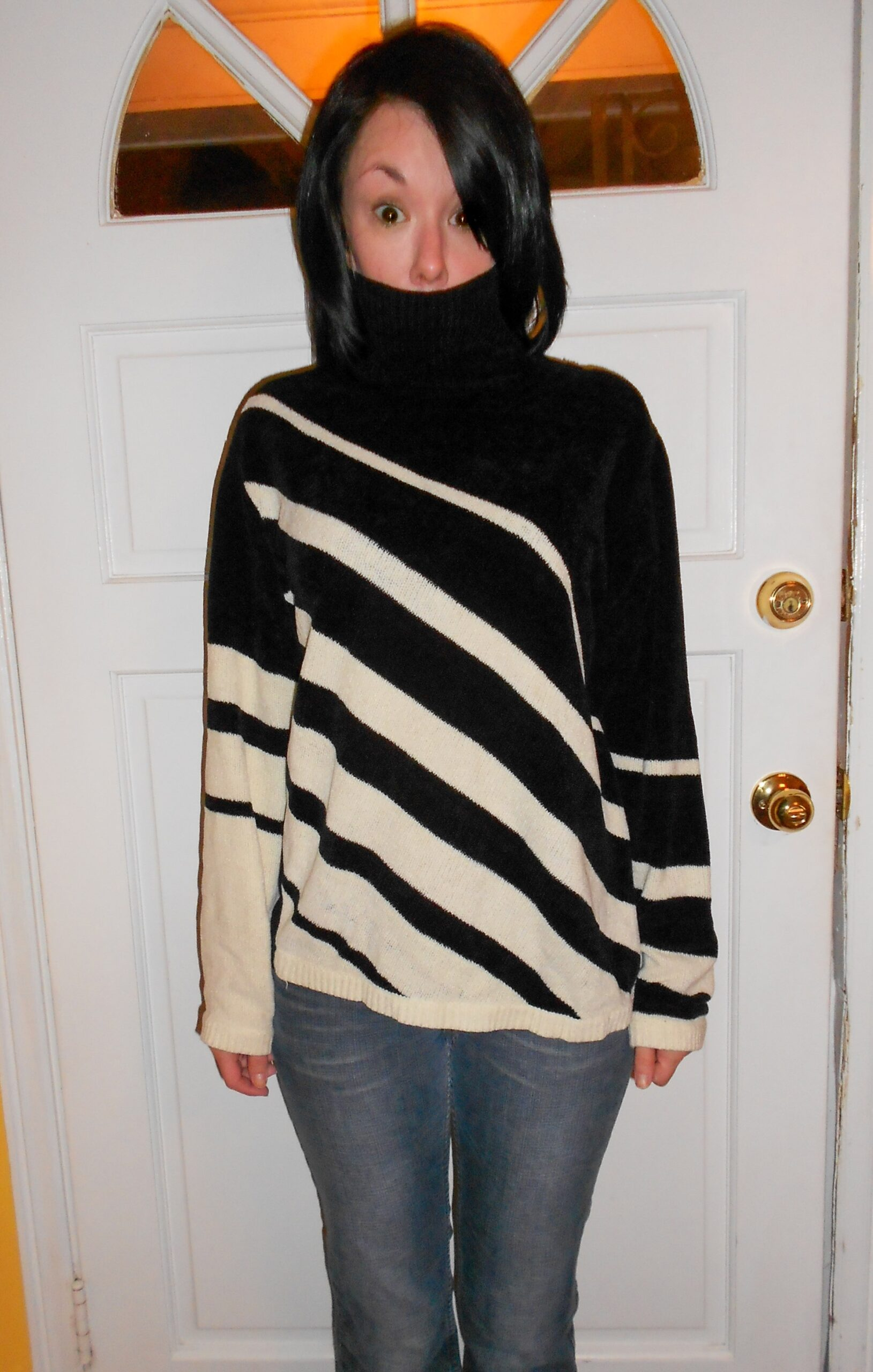 diy one shoulder sweater refashion before