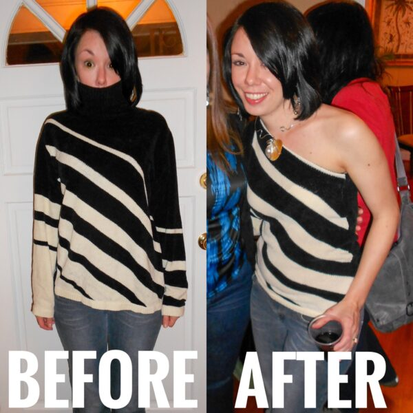 refashionista diy one shoulder sweater refashion before and after