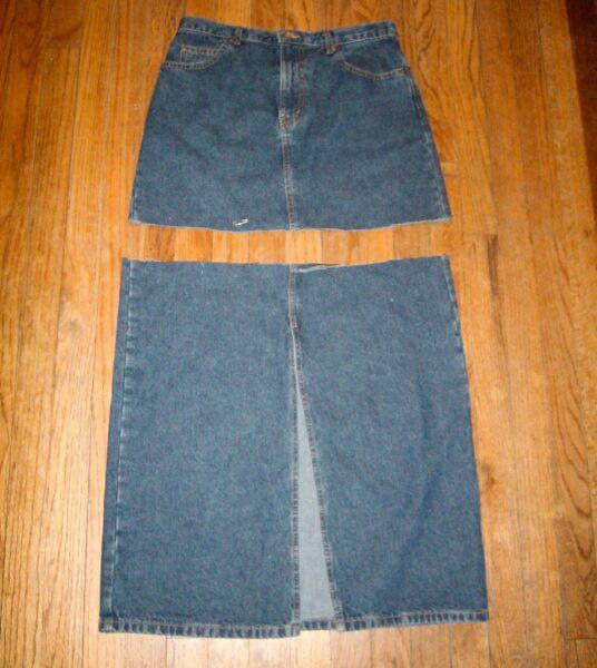 cutting off bottom of denim skirt