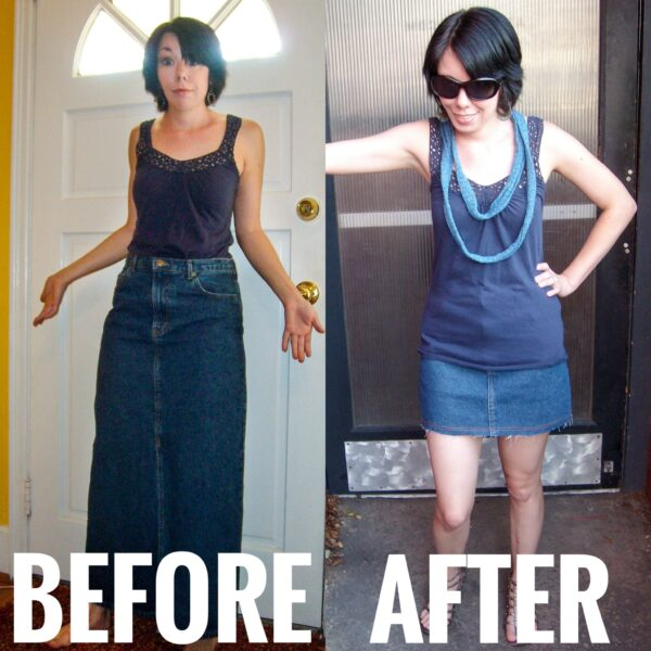 DIY Distressed Denim Skirt before and after