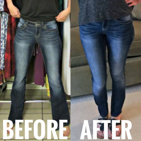 DIY Skinny Jeans from Flared Jeans before and after