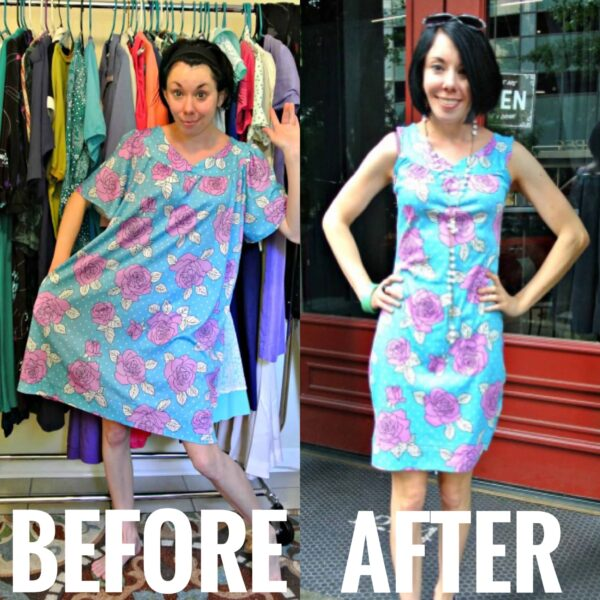 refashionista Muumuu to Fitted Dress Refashion before and after