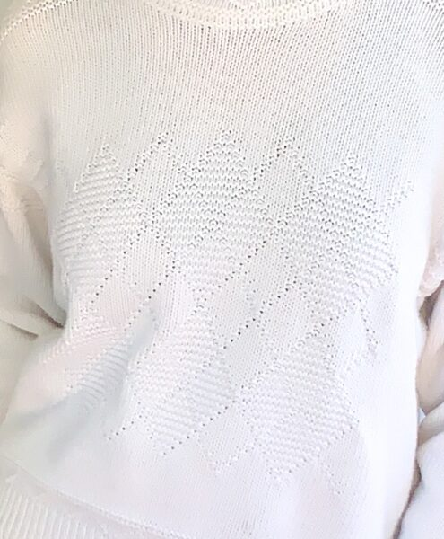 closeup of diamond pattern on sweater