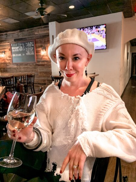 refashionista with wine