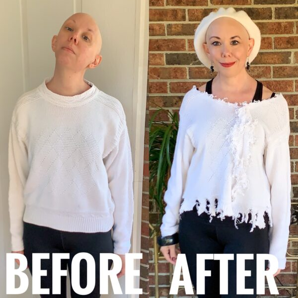 refashionista DIY Ottolinger Deconstructed Sweater Knockoff before and after