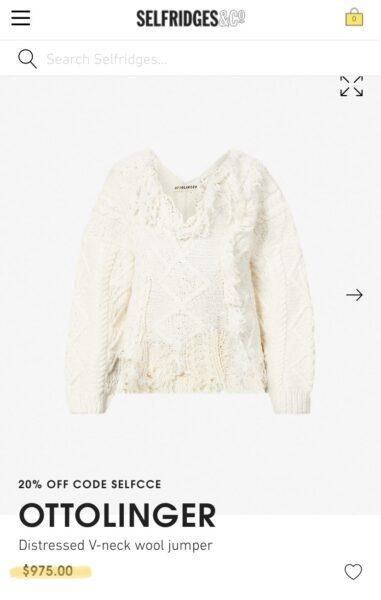 Ottolinger sweater listed online for $1000