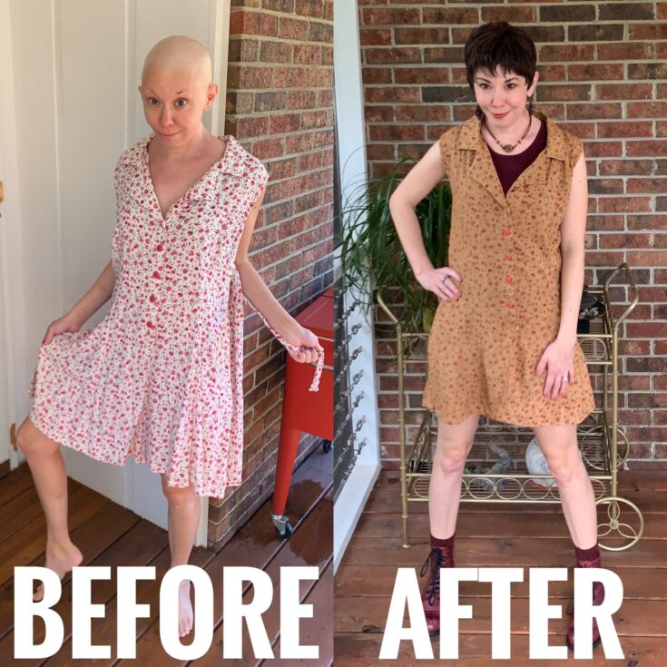 A Happy Thanksgiving Romper to Dress DIY before and after