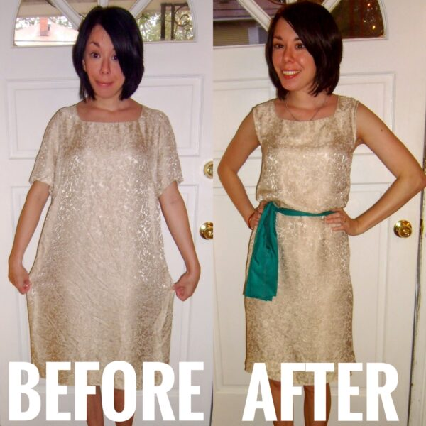 dowdy dress refashion before and after