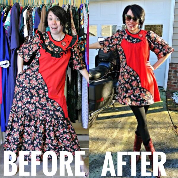 Muumuu Refashion before and after