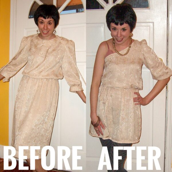 off the shoulder dress refashion before and after