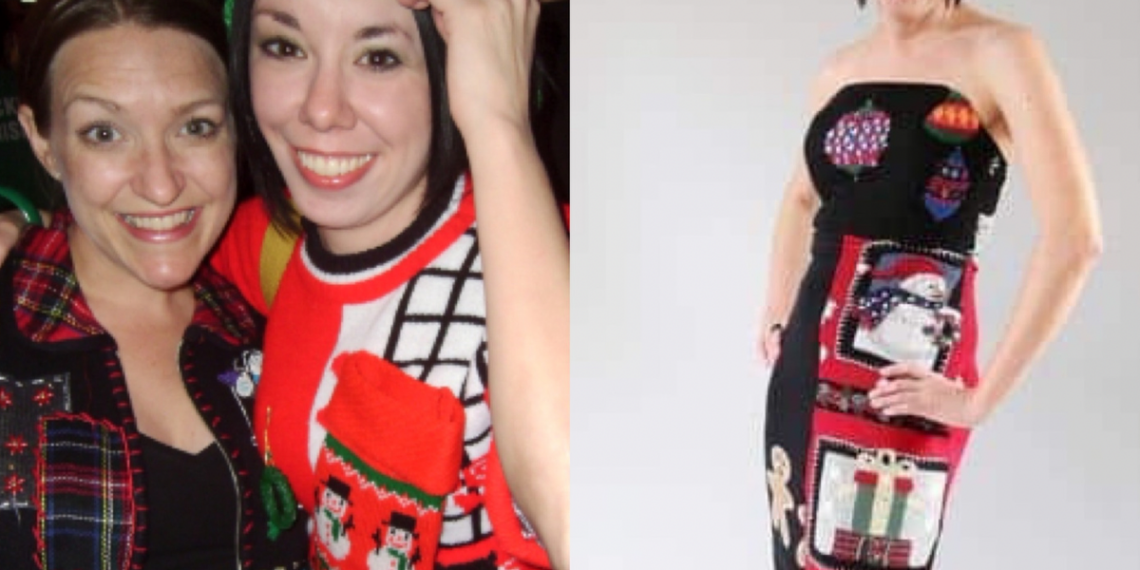 ugly christmas sweater dress refashion featured image