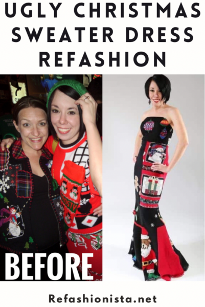 refashionista ugly christmas sweater dress refashion