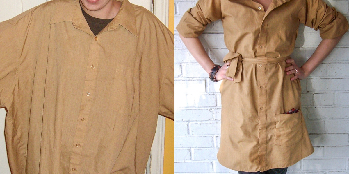 refashionista How to Upcycle a Men's Shirt into a Dress featured image