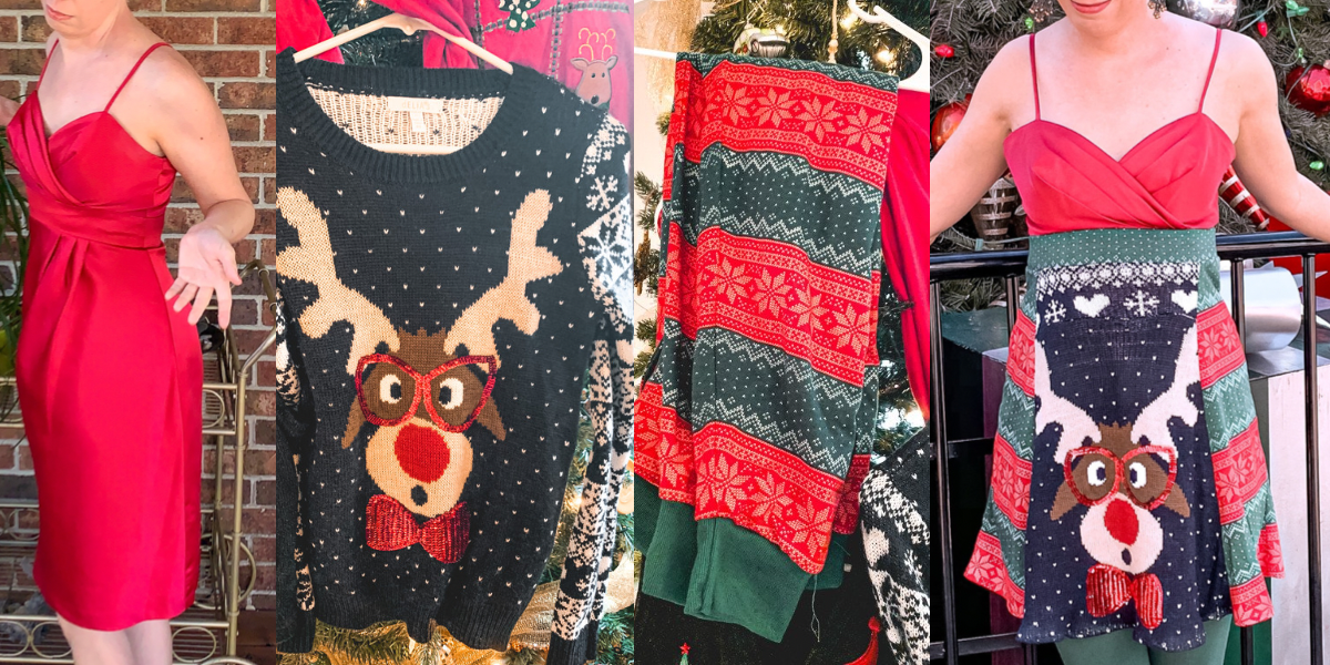 DIY Christmas Sweater Dress featured image