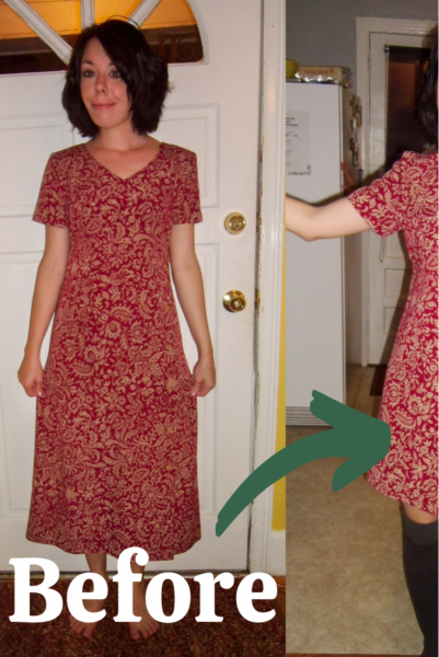 refashionista Shortening a Thrift Store Dress
