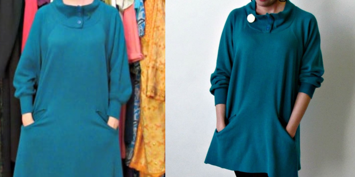 Refashionista No-Sew Cozy Tunic Dress Refashion