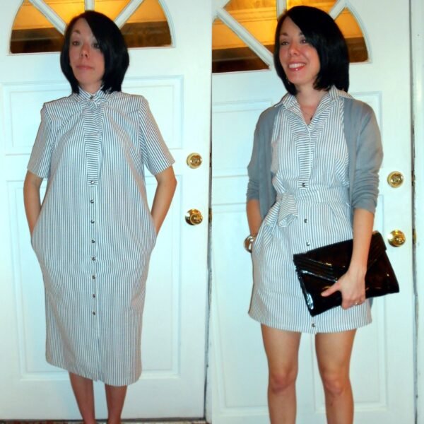 '80s Seersucker Dress Refashion before and after
