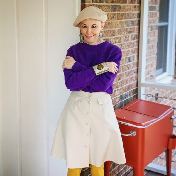 refashionista in vintage sweater, skirt, and hat