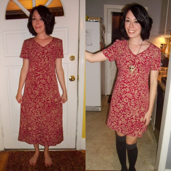 refashionista Shortening a Thrift Store Dress before and after