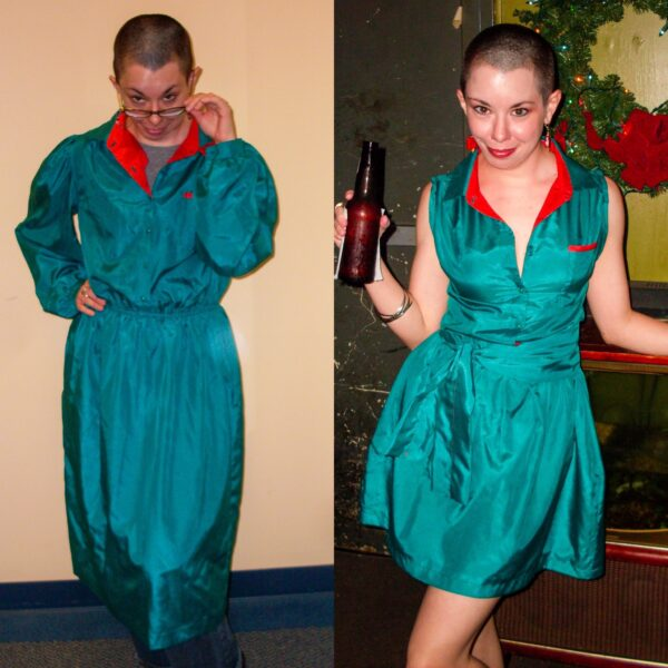 refashionista A Very Merry Christmas in July Dress Refashion before and after