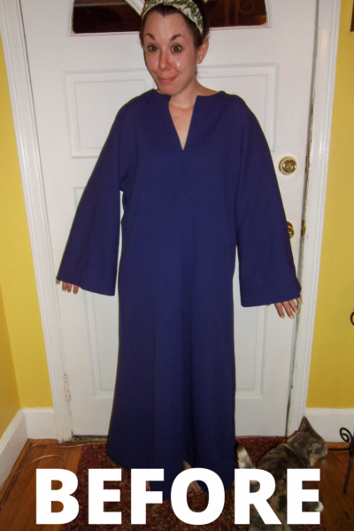 '70s Bell Sleeve Kaftan to Dress Refashion