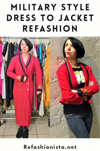 Military Style Jacket From Dress Refashion
