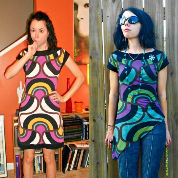 DIY Asymmetrical Top Refashion before and after