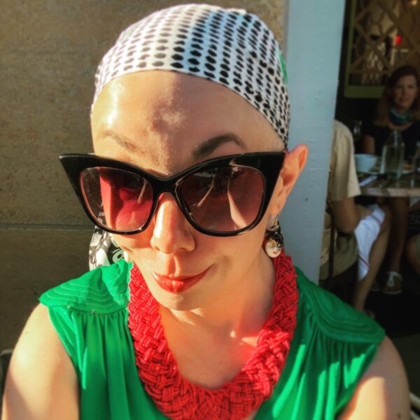 refashionista in headscarf with large vintage necklace