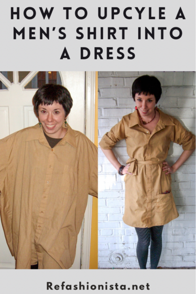 upcycle men's shirt into a dress