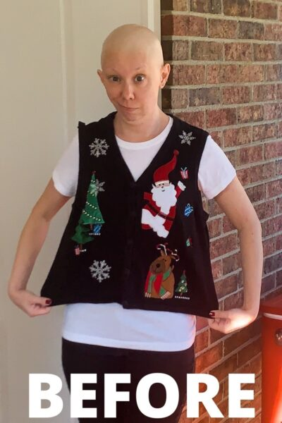 refashionista Christmas Sweater Vest to Halter Top Refashion